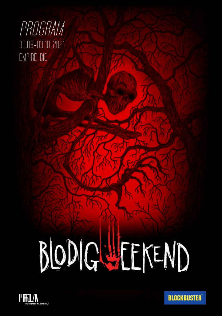 Front cover of the program for Blodig Weekend 2021. A ghoul in a tree where the branches look a bit like veins towards a glowing red background.